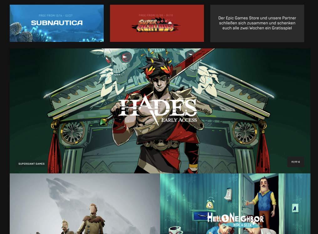 Der Epic Games Store wirkt wesentlich aufgeräumter und moderner als der Platzhirsch