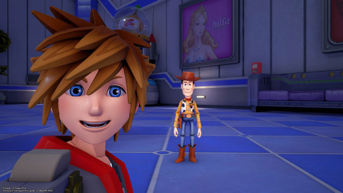 Sora und Woody in der Welt Toy Box in Kingdom Hearts 3.