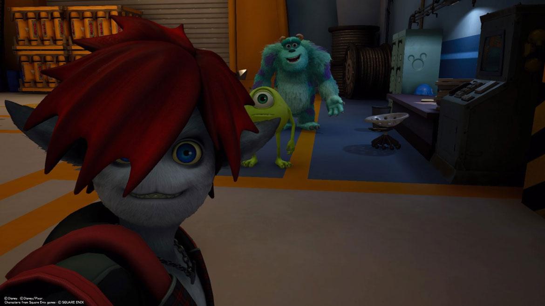 Sora in seiner Monsterform zusammen mit Mike und Sully in der Monster AG.