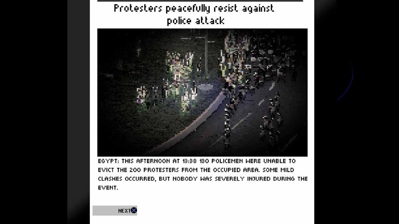 Am Ende einer gelösten Mission kommentieren die Medien die Vorfälle in Riot: Civil Unrest